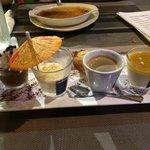 Delicious Café/thé Gourmand and huge Crème Brûlée in background