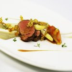 Slow roasted French Veal Tenderloin, Artichokes Purée, Pineapple & Kumquat Chutney, Marjoram jus