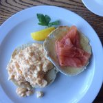 Best scrambled egg, smoked salmon on muffin