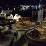 great views! taramussalata, roast auburgine, mussels