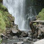 The waterfall at the Peguche Falls
