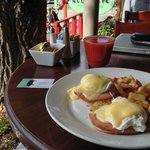 Eggs Benedict on the deck