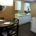 Kitchenette and dining table in 1-room suite
