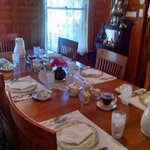 Breakfast table set for six