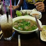 Delicious pho and vietnamese iced coffee