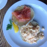 Wonderful scrambled eggs, smoked salmon on muffin