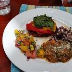 Yummy layered veggie portabello!