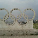 The Olympic Symbol outside The Heights Hotel