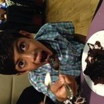 Had to have a dessert even though he was full!!