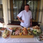Aidan the amazing Chef with the dinner he cooked us at our villa!