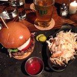 Hamburger/slaw and pint of beer $15.00.