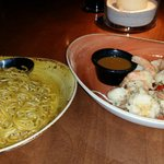 Lo mein and salt&pepper prawns