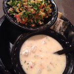 Clam chowder & kale/quinoa/apple salad