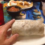 Tasty and big steak burrito.  Chimichanga lunch special across the table.