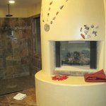 Fireplace and walk-in shower