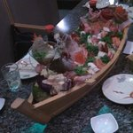 Special sashimi boat. It helps when one of your dinner party knows the manager and chefs!