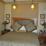 Cool Mission-style lamps over the bed
