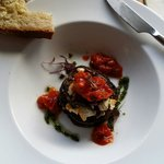 Aubergines with feta cheese and tomato relish