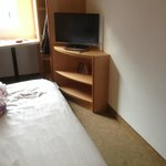My Ensuite bedroom and Tv in my4th floor room at Ibis Hotel,Manchester Centre,Portland St