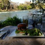 Our barbecued burger was enjoyed with a private view of the Zambezi river!