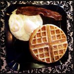Maple bacon waffle, two eggs and of course a side of bacon.