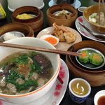 Wide range of dim sum, noodle soup and hot Chinese tea