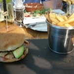 Grilled chicken burger with chips was lovely