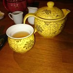 Bora Bora tea served in this cute little teapot complete with honey and lemon.