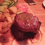 Steak on the hot lava stones