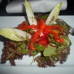 Salad with grilled peppers was for a starter