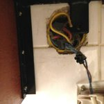 Dangerous electrical socket in the bathroom