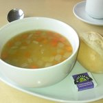 Vegetable soup and warm roll