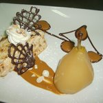 Poached pear, nougat glace, toffee sauce