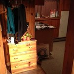 Dresser, hangers, kitchen