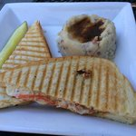 Mozzarella panini with peppers and tomatoes