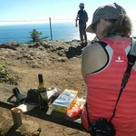 Cape Lookout Trail - at the point having lunch with wine & cheese