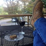 Wine and cookie on the porch