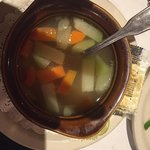 Does this look like chicken soup?? To me this is vegetables swimming in hot water....