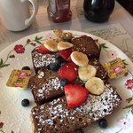 Banana bread French toast topped with fresh fruits