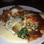 eggplant spinach stuffed awesomeness with gluten free pasta!