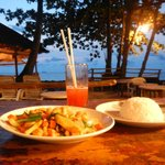 Chicken with cashewnut and Mai Tai after sunset