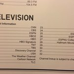 Very limited TV selection; 3 channels were not functioning
