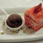 Red velvet and Ice cream for desert