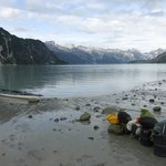 Loading our kayak - upper muir inlet