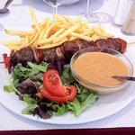 Brochette de Rumsteck à la sauce Roquefort