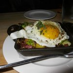 CARAMELIZED BRUSSELS SPROUTS HASH Ginger Apples, Pancetta, Fingerling Potatoes, Sunny Side Egg