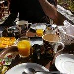 Our breakfast on the Hotel Neos Matala balcony