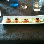 cured salmon with roe, wasabi and creme fraiche