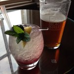 A pint of delicious black sheep and elderflower fizz cocktail