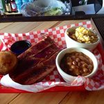Rib Platter with Smoked Mashed Potatoes and Baked Beans